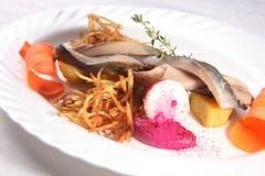 Heringe mit Kartoffeln und Zwiebeln lizenzfreie stockfotos
