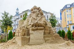 Sand sculpture in Heringsdorf, Usedom, Germany. Heringsdorf, Germany - October 24, 2017: sand sculpture in Heringsdorf, Usedom. This sculpture in the city is Stock Image