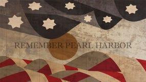Herinner de Illustratie van de Parelhaven De Vlag van de V.S. met Zon op Hout Royalty-vrije Stock Foto