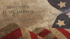 Herinner de Illustratie van de Parelhaven De Vlag van de V.S. op Hout Stock Fotografie