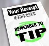 Herinner me om het Ontvangstbewijs Bill Paying Extra Gratu te tippen van het Opslagrestaurant vector illustratie