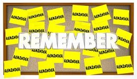 Herinneren de herinnerings Kleverige Nota's zich Stock Foto