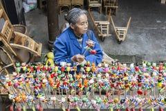 Herinnering bij het Lopen van straat in Chengdu, China stock afbeelding