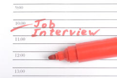 Herinnering voor Job Interview Stock Fotografie
