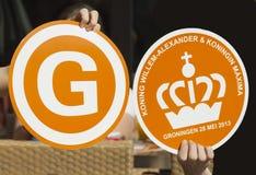Herinneringen voor bezoek Nederlands koninklijk paar aan Groningen worden gemaakt dat Royalty-vrije Stock Afbeelding