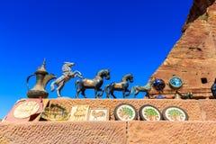Herinneringen voor verkoop bij de historische plaats van Petra in Jordanië Royalty-vrije Stock Foto
