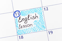 Herinnerings Engelse les in kalender Royalty-vrije Stock Foto