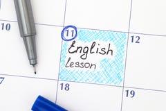 Herinnerings Engelse les in kalender met pen Royalty-vrije Stock Afbeeldingen
