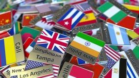 Herinneringsmagneet of kenteken met de tekst van Havana en nationale vlag onder verschillende degenen Het reizen naar conceptuele vector illustratie