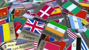 Herinneringsmagneet of kenteken met de tekst van Kopenhagen en nationale vlag onder verschillende degenen Het reizen naar concept vector illustratie