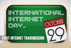 Herinneringsteken met Retro Computers voor Internationale Internet-Dag, Vectorillustratie vector illustratie