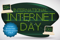 Herinneringsteken met Retro Computers voor Internationale Internet-Dag, Vectorillustratie stock illustratie