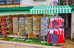 Herinneringswinkel in Hallstatt, Salzkammergut, Oostenrijk stock foto