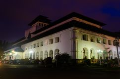 Colonial historical white building during blue purple sunset evening royalty free stock photo