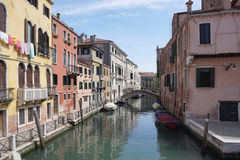 Heritage beautiful building with canel in Venice Stock Photography