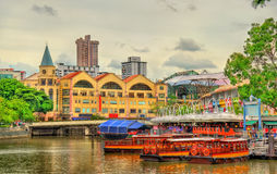 Heritage boats on the Singapore River Stock Photos