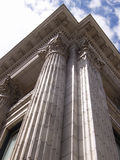 Heritage building corner. Heritage building with columns, corner view looking up royalty free stock image