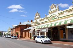 Heritage buildings in York, the oldest inland town of Western Australia. Shopping street with heritage buildings and Motor Museum in York, the oldest inland town royalty free stock photography
