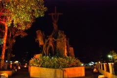 The Heritage of Cebu Monument. Philippines night. The Heritage of Cebu Monument - the significant and symbolic events in the history of Cebu. Philippines night Stock Photo