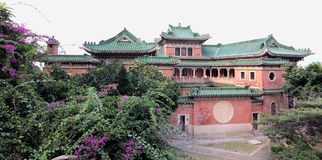 Heritage Chinese Mansion in Panorama view. Heritage Chinese Mansion King Yin Lei in Hong Kong China. Declared Monument. This Chinese styled mansion designed by Royalty Free Stock Image