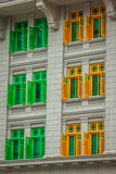 Heritage colourful Windows in Singapore Stock Photos