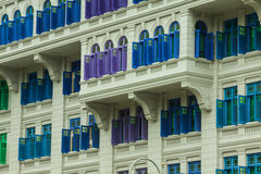 Heritage colourful Windows in Singapore Stock Image