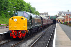 Heritage Diesel Class 40 Number 40 106 on the ELR. Heritage Type 4 Diesel Number 40 106 In Green Livery At Bury With A Service Train To Heywood East Lancashire royalty free stock images