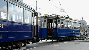 Heritage electric tram, Amsterdam, Netherlands,. AMSTERDAM - SEP 14: Heritage electric tram on September 14, 2014 in Amsterdam, Netherlands.The Amsterdam Tram stock video footage