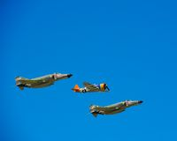 Heritage Foundation Fly By. Of two Vietnam Era F4's and a WWII P-47 at an air show at LRAFB in near Little Rock, Arkansas on Sept. 9, 2012 Stock Photography