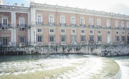 Heritage, Gardens of the city of Aranjuez, located in Spain. Sto. Ne palace and beautiful autumn landscapes with beautiful fountains and mythological figures Royalty Free Stock Photo