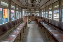 The heritage of Kolkata, empty tram on its way to esplanade on a Sunday morning stock photos