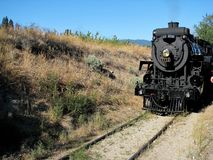 Heritage KV Railroad steam engine. Historic train engine still operating in Summerland, BC for tourist travel in Okanagan stock images