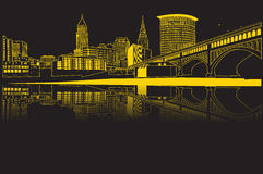 Heritage Park. Vector image of the view of Cleveland, Ohio with black background from Heritage Park.  A view of the Detroit Superior bridge and reflecting on the Royalty Free Stock Images