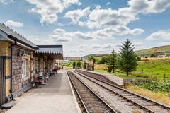 Heritage railway in Pontypool and Blaenavon, Wales, UK. Landscape with Heritage railway station Pontypool and Blaenavon, Wales, UK. The traIn rides to BIg Pit stock photography