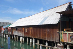 Heritage stilt houses of the Chew Clan Jetty in Penang, Malaysia. PENANG, MALAYSIA-29 DECEMBER, 2016: Heritage stilt houses of the Chew Clan Jetty, George Town Royalty Free Stock Photo