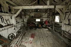 Heritage tool shed. Inside of a heritage tool shed Royalty Free Stock Image