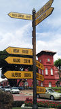 Heritage town with sign board in Malacca, Malaysia. Royalty Free Stock Image