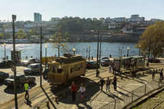 Heritage tram tourist line on the shores of the Douro Royalty Free Stock Image