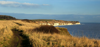 Heritage Way. The completed East Coast Heritage Way has caught the attention of local photographer David Hollingworth as he walks along the Cliff Top at Sewerby Stock Photo