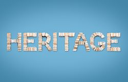 HERITAGE word arranged from books Royalty Free Stock Images