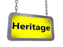Heritage on billboard. Heritage on yellow light box billboard on white background Stock Images
