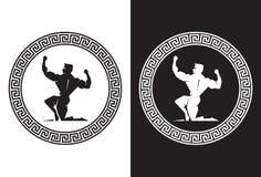 Herkules innerhalb einer griechischen Schlüsselrückseitenansicht Lizenzfreie Stockfotografie