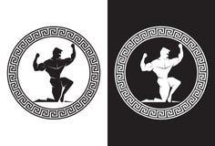 Herkules innerhalb einer griechischen Schlüsselvorderansicht Stockbild