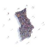 Herm del mapa de la forma del grupo de la gente stock de ilustración