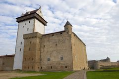 Herman Castle close up, cloudy October day. Narva, Estonia stock photo