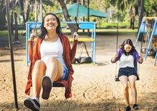 Hermana Friendship Embracing Adorable fuera del concepto Imagen de archivo