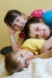 Hermana y dos hermanos Imagen de archivo libre de regalías