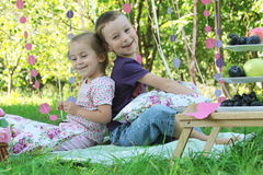 Hermana y hermano que se divierten en comida campestre Imágenes de archivo libres de regalías
