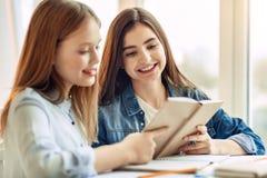 Hermanas agradables que leen un libro junto Imagen de archivo libre de regalías