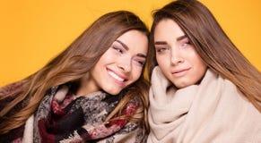 Hermanas alegres de los gemelos que presentan con la bufanda Fotos de archivo libres de regalías